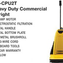 Carpet Pro CPU2T, Vac, Upright Vacuum 10A 40' 3-Wire Cord