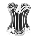 MUKA Elegant Black & White Boning Fashion Corset with Satin Bows and Lace, Gift Idea
