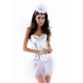 MUKA White Halter Fashion Corset with Silver Sequin Trim, Gift Idea