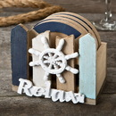 FashionCraft 12166 Ship's wheel coaster set with holder