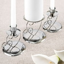 FashionCraft 2514 Double heart themed silver metal chrome plated unity candle 3 piece set