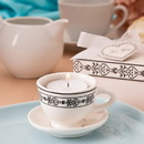 FashionCraft 4187 Tea time cream colored ceramic tea cup & saucer tea light candle holder