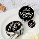 FashionCraft 5975 Girls Night Out' silver metal compact mirror with black epoxy top