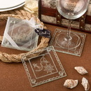 FashionCraft 7834 Nautical themed clear glass set of 2 glass coasters