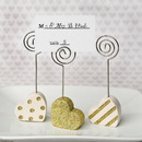 FashionCraft 8858 Heart shaped placecard holders, three assorted styles in gold and pearl white