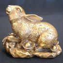 Feng Shui Import Brass Metal Rabbit Statue - 2844