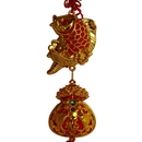 Feng Shui Import New Year Decoration Charm - Carp Fish and Treasure Bag - 4165