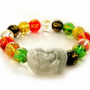 Feng Shui Import 4735 Colorful Omani Beaded Bracelet with Pi Yao