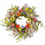 Floral Home Decor Pansy and Daisy Whispy Twig Wreath with Burlap Ribbon WR4862