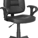 Flash Furniture BT-682-BK-GG Black Leather Ergonomic Task Chair With Arms