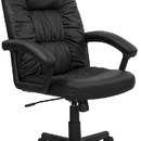 Flash Furniture BT-983-BK-GG High Back Executive Black Leather Swivel with Nylon Base