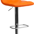 Flash Furniture CH-112080-ORG-GG Contemporary Tufted Orange Vinyl Adjustable Height Bar Stool with Chrome Base