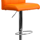 Flash Furniture CH-122090-ORG-GG Contemporary Orange Vinyl Adjustable Height Bar Stool with Chrome Base