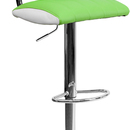 Flash Furniture CH-122150-GRN-GG Contemporary Two Tone Green & White Vinyl Adjustable Height Bar Stool with Chrome Base
