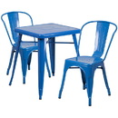 Flash Furniture CH-31330-2-30-BL-GG Blue Metal Indoor-Outdoor Table Set with 2 Stack Chairs