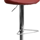 Flash Furniture CH-82028-MOD-BURG-GG Contemporary Burgundy Vinyl Bucket Seat Adjustable Height Bar Stool with Chrome Base