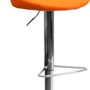 Flash Furniture CH-82028-MOD-ORG-GG Contemporary Orange Vinyl Bucket Seat Adjustable Height Bar Stool with Chrome Base