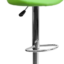 Flash Furniture CH-82028A-GRN-GG Contemporary Green Vinyl Bucket Seat Adjustable Height Bar Stool with Chrome Base