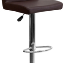Flash Furniture CH-92066-BRN-GG Contemporary Brown Vinyl Adjustable Height Bar Stool with Chrome Base