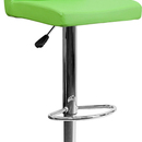 Flash Furniture CH-92066-GRN-GG Contemporary Green Vinyl Adjustable Height Bar Stool with Chrome Base