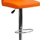 Flash Furniture CH-92066-ORG-GG Contemporary Orange Vinyl Adjustable Height Bar Stool with Chrome Base