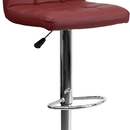 Flash Furniture DS-810-MOD-BURG-GG Contemporary Burgundy Quilted Vinyl Adjustable Height Bar Stool with Chrome Base