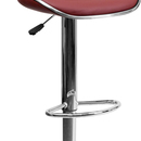 Flash Furniture DS-815-BURG-GG Contemporary Cozy Mid-Back Burgundy Vinyl Adjustable Height Bar Stool with Chrome Base
