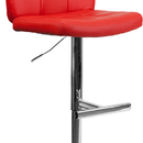 Flash Furniture DS-829-RED-GG Contemporary Tufted Red Vinyl Adjustable Height Bar Stool with Chrome Base