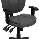 Flash Furniture GO-930F-GY-ARMS-GG Gray Fabric Multi Function Task Chair with Arms