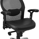 Flash Furniture LF-W42-L-HR-GG Super Mesh Chair with Headrest, Mesh Back, Knee Tilt Control And Italian Leather Seat