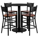 Flash Furniture MD-0018-GG 36'' Round Black Laminate Table Set with Grid Back Metal Bar Stool and Cherry Wood Seat, Seats 4