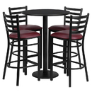 Flash Furniture RSRB1025-GG 30'' Round Black Laminate Table Set with 4 Ladder Back Metal Bar Stools - Burgundy Vinyl Seat