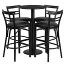 Flash Furniture RSRB1033-GG 24'' Round Black Laminate Table Set with 4 Ladder Back Bar Stools - Black Vinyl Seat