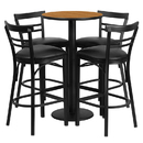 Flash Furniture RSRB1035-GG 24'' Round Natural Laminate Table Set with 4 Ladder Back Metal Bar Stools - Black Vinyl Seat