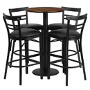Flash Furniture RSRB1036-GG 24'' Round Walnut Laminate Table Set with 4 Ladder Back Bar Stools - Black Vinyl Seat