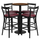 Flash Furniture RSRB1040-GG 24'' Round Walnut Laminate Table Set with 4 Ladder Back Metal Bar Stools - Burgundy Vinyl Seat