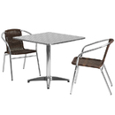Flash Furniture TLH-ALUM-32SQ-020CHR2-GG 31.5'' Square Aluminum Indoor-Outdoor Table with 2 Rattan Chairs