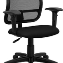 Flash Furniture WL-A277-BK-A-GG Contemporary Mesh Task Chair - Black Fabric Seat, Arms