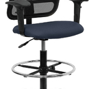 Flash Furniture WL-A277-NVY-AD-GG Contemporary Mesh Drafting Stool - Navy Blue Fabric Seat, Arms