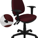 Flash Furniture WL-A654MG-BY-A-GG Burgundy Fabric Multi-Function Task Chair with Adjustable Lumbar Support, Arms