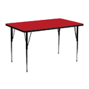Flash Furniture XU-A2448-REC-RED-H-A-GG 24''W x 48''L Rectangular Activity Table with 1.25'' Thick High Pressure Red Laminate Top and Standard Height Adjustable Legs