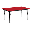Flash Furniture XU-A2448-REC-RED-H-P-GG 24''W x 48''L Rectangular Activity Table with 1.25'' Thick High Pressure Red Laminate Top and Height Adjustable Pre-School Legs
