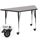 Flash Furniture XU-A2448-TRAP-GY-H-A-CAS-GG Mobile 24''W x 48''L Trapezoid Activity Table with 1.25'' Thick High Pressure Grey Laminate Top and Standard Height Adjustable Legs