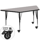 Flash Furniture XU-A2448-TRAP-GY-H-P-CAS-GG Mobile 24''W x 48''L Trapezoid Activity Table with 1.25'' Thick High Pressure Grey Laminate Top and Height Adjustable Pre-School Legs