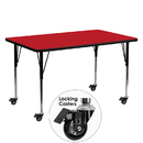 Flash Furniture XU-A2460-REC-RED-H-A-CAS-GG Mobile 24''W x 60''L Rectangular Activity Table with 1.25'' Thick High Pressure Red Laminate Top and Standard Height Adjustable Legs