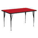 Flash Furniture XU-A2460-REC-RED-H-A-GG 24''W x 60''L Rectangular Activity Table with 1.25'' Thick High Pressure Red Laminate Top and Standard Height Adjustable Legs