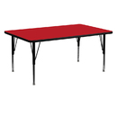 Flash Furniture XU-A2460-REC-RED-H-P-GG 24''W x 60''L Rectangular Activity Table with 1.25'' Thick High Pressure Red Laminate Top and Height Adjustable Pre-School Legs
