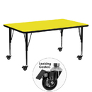 Flash Furniture XU-A2460-REC-YEL-H-P-CAS-GG Mobile 24''W x 60''L Rectangular Activity Table with 1.25'' Thick High Pressure Yellow Laminate Top and Height Adjustable Pre-School Legs