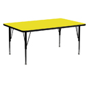 Flash Furniture XU-A2460-REC-YEL-H-P-GG 24''W x 60''L Rectangular Activity Table with 1.25'' Thick High Pressure Yellow Laminate Top and Height Adjustable Pre-School Legs