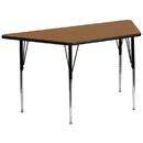 Flash Furniture XU-A3060-TRAP-OAK-T-A-GG 30''W x 60''L Trapezoid Activity Table with Oak Thermal Fused Laminate Top and Standard Height Adjustable Legs